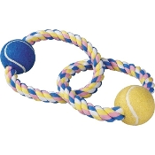 Zanies Pastel Rope Toy with 2 Tennis Balls
